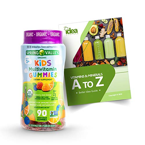 """Organic Multivitamin Vegetarian Gummies for Kids by Spring Valley +Vitamins & Minerals A to Z - Better Idea Guide"""" (1 Pack, 90 Ct)"""