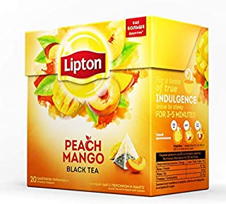 Lipton - Peach and Mango - 20 count box (Pack 6 boxes = 120 count) Pyramid tea bags, Imported