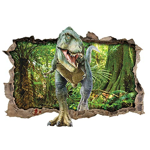 ufengke Wandtattoo Dinosaurier Wald Wandsticker Wandaufkleber 3D-Effekt Durchbruch für Zimmer