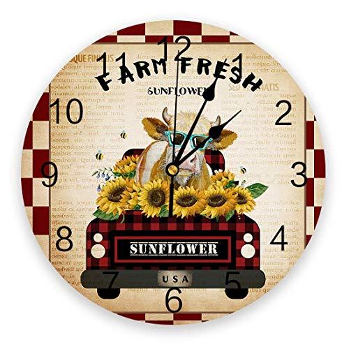 Farm Sunflower Reloj de pared de 9,8 pulgadas, redondo con pilas, reloj colgante, relojes decorativos para guardería, dormitorio, sala de estudio, hogar, camión retro, vaca con gafas de sol, cuadros r
