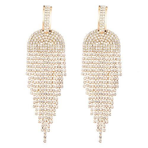 Long Rhinestone Fringe Earrings - Big Sparkly Rhinestone Metal Chain Tassel Dangle Earrings for Women Girls, Large Bling Crystal Rhinestone Chandelier Drop Earrings for Bridal Wedding Party ( Gold Golden Rhinestone Dangle Earrings A )
