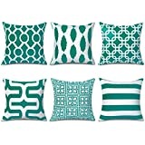 Top Finel Decorative Throw Pillow Covers 18 x 18 Inch Soft Microfiber Outdoor Cushion Covers for Couch Bedroom Car 45 x 45 cm, Pack of 6, Dark Green