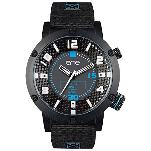 eNe Herren Analog Quarz Uhr mit Nylon Armband 654000115