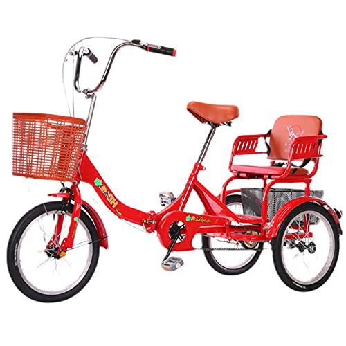 Bicicleta de 1 Velocidades con 3 Ruedas Triciclo Adulto de 20' Marco de Aleación Trike de Bicicleta del Crucero de Velocidad Bicicleta de Triciclo Plegable de Deportes Al Aire Libre ( Color : Red )