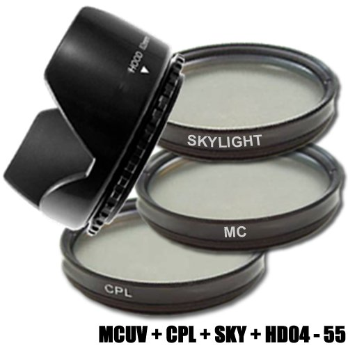 DynaSun C-PL CPL 55mm Pol-Filter +MCUV Filter Multicoated MC UV +Skylight +Gegenlichtblende 55 mm