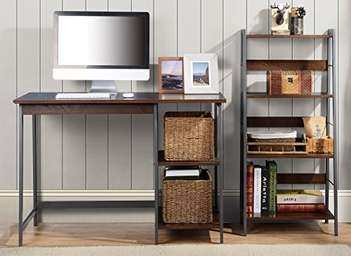 Home Star Gemelli Desk with Book Case Combo, Distressed Mocha Finish