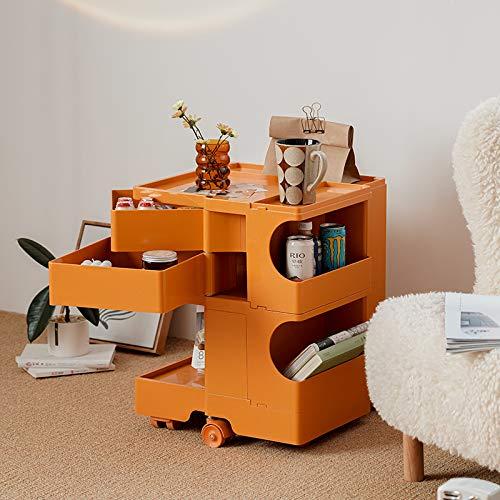 TY-ZWJ 360°Rotating Drawer Storage Cabinet Trolley, Bedside File Cabinet Furniture with Roller Storage Side Cabinet 3 Layers Movable Side Table Storage Cabinet,Orange,S