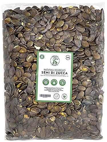 Veggy Duck - Semi di Zucca Sgusciati Naturali (1Kg) - Senza Sale | Senza Glutine | Ricchi di Fosforo, Magnesio e Ferro