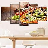 MMLFY 5 Leinwandbilder Modular 5 Stück Pizza und Tomaten