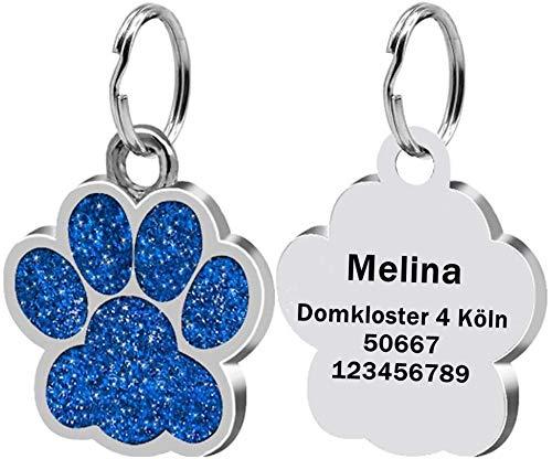 LAOKEAI Personalisierter Hundemarke mit Gravur aus Legierung, Haustier ID Tag mit Namen, Adresse und Telefonnummer Prickelnde Haustier Marke für Hunde und Katzen inkl. Schlüsselring(Blau)