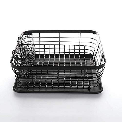 LouisaYork - Escurridor de platos plegable para cocina, marco de acero inoxidable con bandeja de goteo, soporte para cubiertos organizador de cocina, color negro