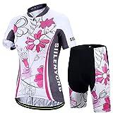 X-Labor – Juego de maillot de ciclismo para mujer, secado rápido, camiseta de manga corta + pantalones de ciclismo con acolchado de asiento, diseño multicolor, EU 2XL (etiqueta: 3XL)