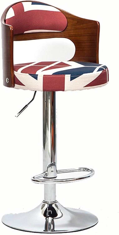 XUANLAN Bar Chair Rise and Fall Solid Wood Bar Stool European Retro redating Bar Chair High Stool Simple Swivel Chair (color   D)