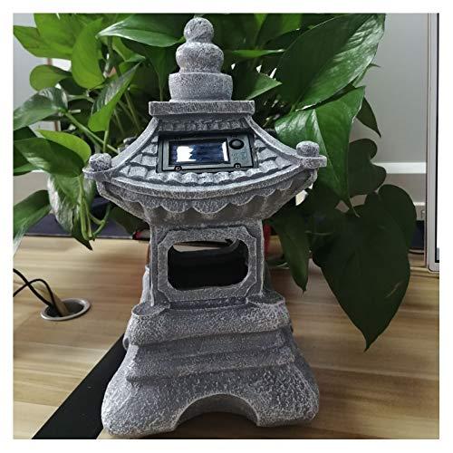 Uziqueif Lanterne Solaire extérieure Japonaise, Lampe de Jardin Solaire Zen Japonais, Lanterne de pagode, Lampe de Statue de Jardin Solaire, résistant au Gel,Bleu