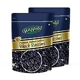 HappiloPremium Afghani fresh Seedless Black Raisins, 250gm (Pack of 2)