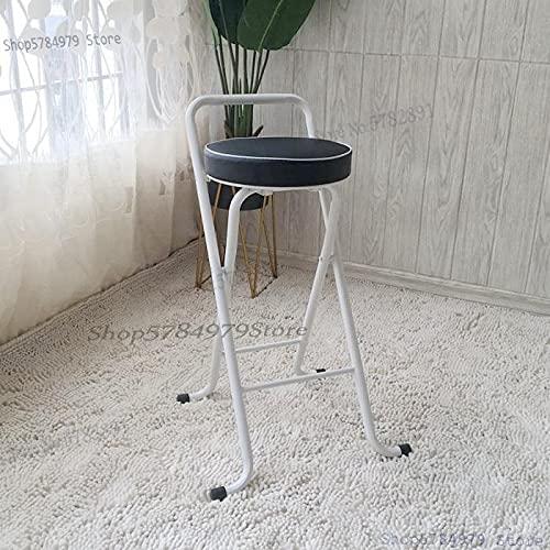 YINGGEXU Taburete alto taburete de bar silla plegable portátil taburete de pesca para el hogar simple y moderno taburete de bar trasero silla de ocio (color gris claro)