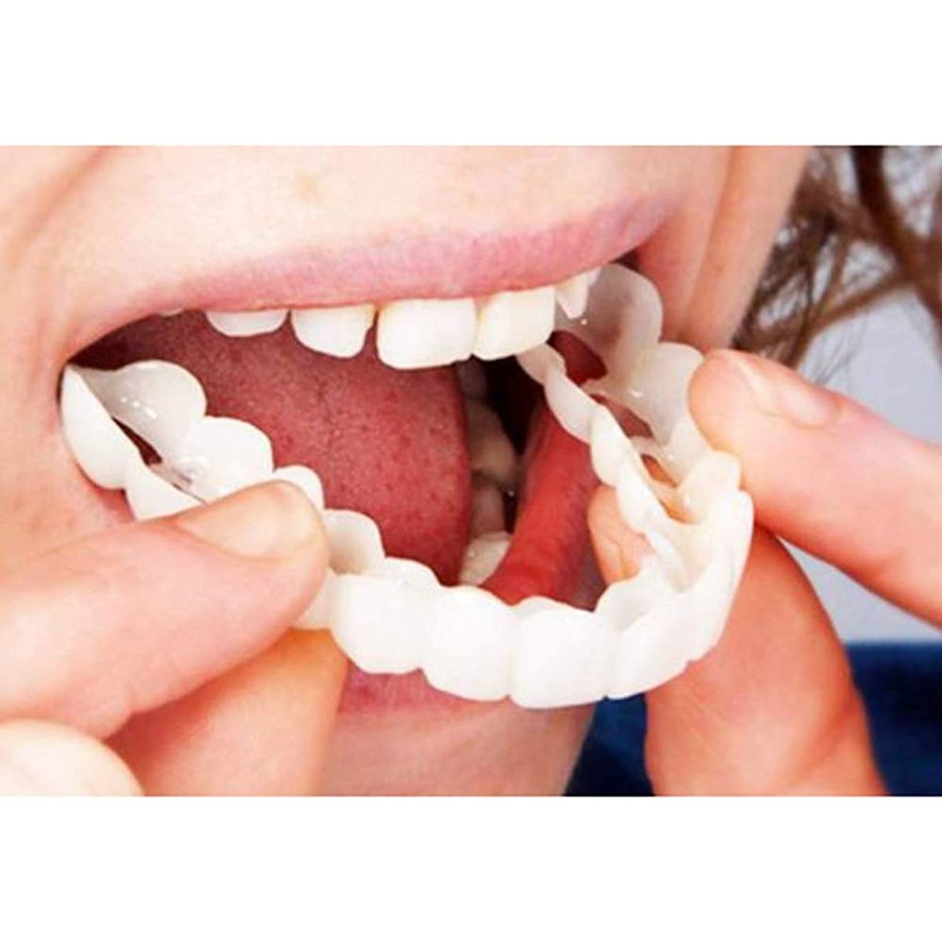 化粧品の歯、5個スナップインスタントスマイルアッパーベニアコンフォートフィットフレックス化粧品の歯ワンサイズフィット最も快適な義歯