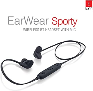 iBall EarWear Sporty Wireless Bluetooth Headset with Mic for All Smartphones (Full Black)