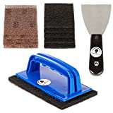 Purple Tree Line 12 Pcs Griddle Cleaning Kit Comes with 5 Grill Screens 5 Pads 1 Blue Plastic Holder...