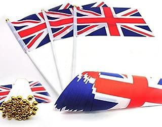 Hehing Ten Pcs/set Hand Waving Flags Union Jack Flags Plastic Poles