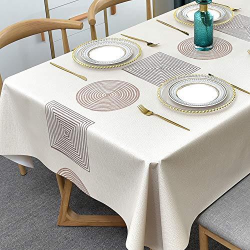 Plenmor PVC Tischdecke Rechteckig für Küche Esstisch Kunststoff Wischtuchreinigung Tischdecke für Indoor Outdoor (137 x 215 cm, Geometrie)
