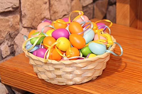 Kamaca, 48 uova di Pasqua colorate in plastica con nastrino da appendere, in plastica, per interni ed esterni, grande decorazione pasquale, Plastica, Multicolore, 72 Stück pastell 4cm