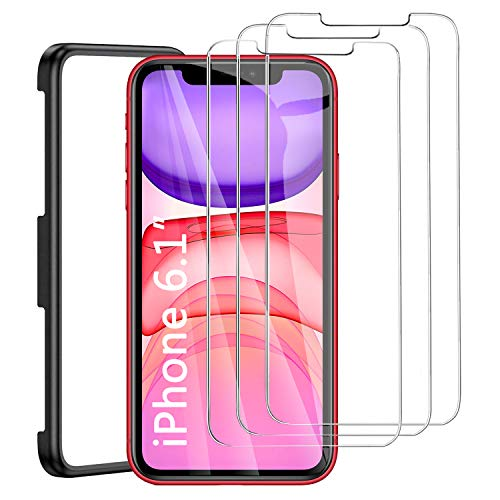 Preisvergleich Produktbild iLieber Panzerglas für iPhone 11 und iPhone XR [6.1 Zoll],  mit Positionierhilfe,  9H Härte,  Anti-Kratzen,  Anti-Öl,  Anti-Bläschen,  Transparent klar,  2.5D Runde Kante - 3 Stück Set