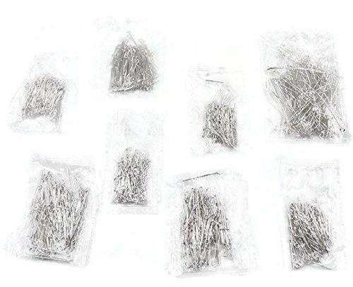 SiAura Material - 800 Kettelstifte/Nietstifte mit Öse, Mix 1,6cm - 5cm, silberfarben
