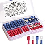 AIRIC 0.187 Spade Connectors Kit 160PCS PVC Insulated 4.8mm Female Spade Connectors and 0.187 inch Male Spade Disconnectors 22-14 Gauge Wire Crimp Connectors Kit, 0.187'