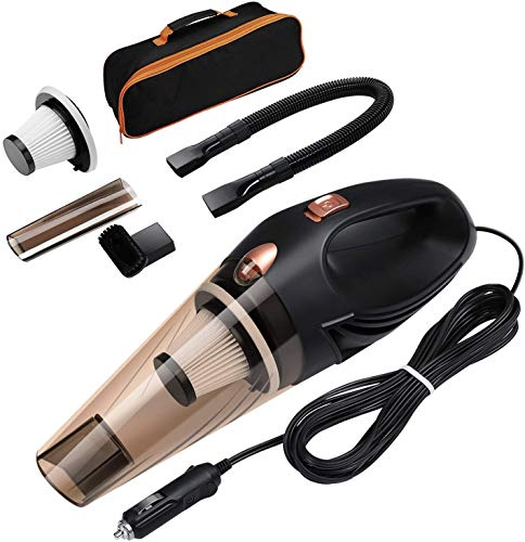 Getko With Device Portable and High Power Plastic 12V Car Vacuum Cleaner 4500PA Stronger Suction For Car Vacuum Cleaner Wet And Dry With Carry Bag (Black)