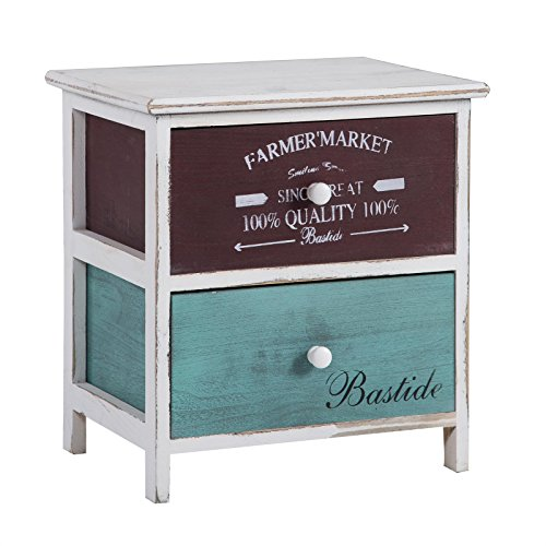 CARO-Möbel Nachttisch Nachtschrank Nachtkommode COLORIS, mit 2 Schubladen in weiß, Shabby Chic Vintage Look