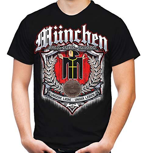 Für Immer München Männer und Herren T-Shirt | Sport Fussball Stadt Fan (4XL, Schwarz Druck: Bunt)