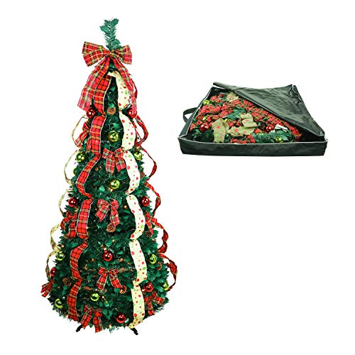 Top Treasures Christmas Tree Fully Decorated Dressed Pre-Lit 6 Ft Pull Up Pop Up with Storage Bag | Includes Holiday Decorations, Ornaments, Pinecones, Stand and Warms Lights