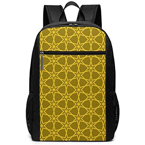 Yuanmeiju Yellow Star Radian Pattern Unisex Custom Schultertaschen,Adult Student Double Zipper Closure Lässige Schultasche