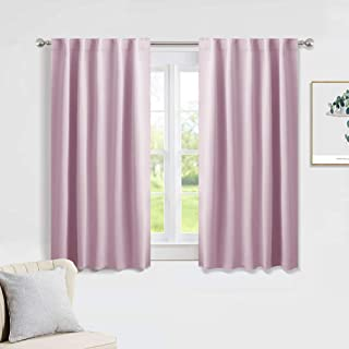 PONY DANCE 54 inch Length Curtains - Room Darkening Kitchen Solid Thermal Draperies Back Tab Short Panels Drapes Window Covering for Baby Girls' Bedroom, 42 W by 54 in L, Light Pink, Set of 2