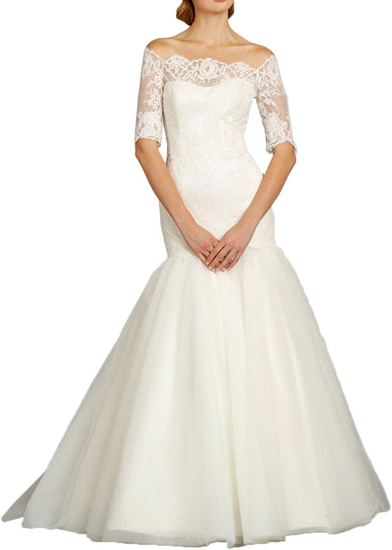 Avril Dress Graceful Bateau Mermaid Lace Wedding Gown Long Train Half Sleeves