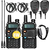 Ham Radio UV-5R Pro 8Watt Dual Band Two Way Radio with Ham Radio Handheld Mic and NA-771 Antenna 2Pack and USB Programming Cable