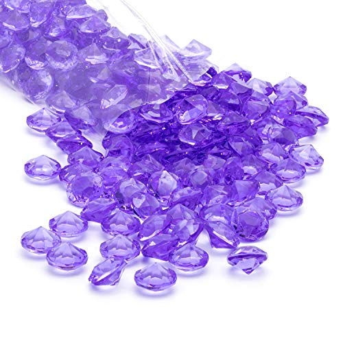Royal Imports Acrylic Diamonds Gemstones, Crystals Rocks, Vase Fillers Party Table Scatter Wedding Banquet Event Party Crafts - 1 LB (Approx 200 gems) - Purple