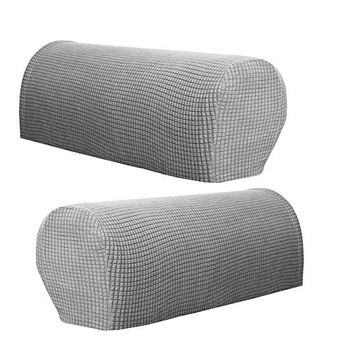 Armchair Arm Covers Stretch Sofa Arm Caps Armrest Covers for Chairs Furniture Protector Set of 2 (Light grey)