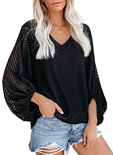 AlvaQ Women Summer V Neck Blouses Long Sleeve Chiffon Blouses Fall Autumn Casual Loose Shirts Tops Black Large