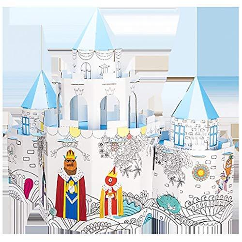 FSFF Casa de Juegos de Colores para niños Hecha de cartón, Juguete Educativo, Graffiti, casa de Papel Hecha a Mano, Castillo, tamaño 73X31x58cm 4-6 años
