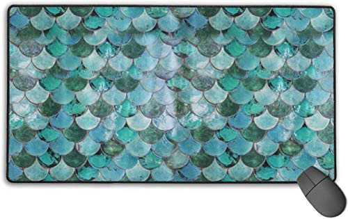 Mermaid Scale Mousepad Anti-Rutsch-wasserdichte Mausmatte Desktop-Laptop-Tastatur Mauspad Gaming-Mauspad 15,7 x 29,5 Zoll