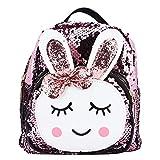 Zerodis wasserdichte Kinderrucksack mit Pailletten Cartoon Kaninchen Kindergarten Tasche Tiermuster Rucksack Geschenke für 3-6 Jahre alte Kinder(Rosa)
