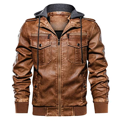 FLOMYA Men's Vintage Pu Leather Jacket with Removable Hooded Motorcycle Jackets Brown