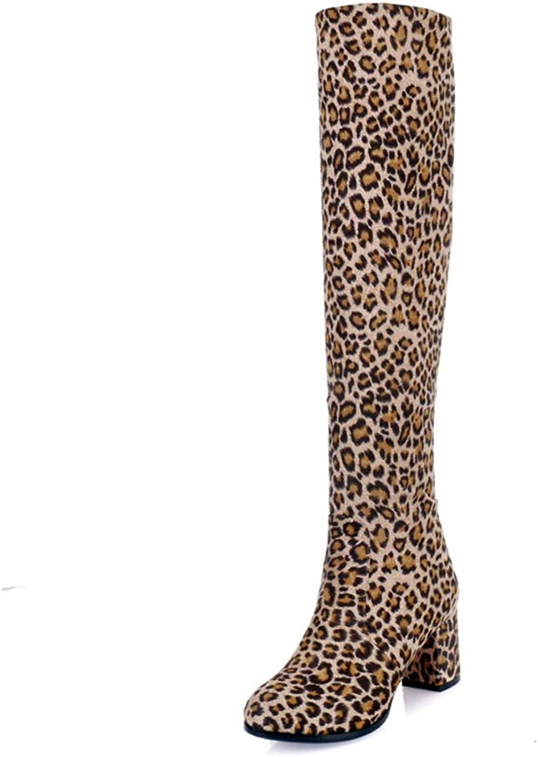 Women Winter Knee high Boots Sexy Leopard Print Thick Footwear Stretch Fashion Party Lady shoes