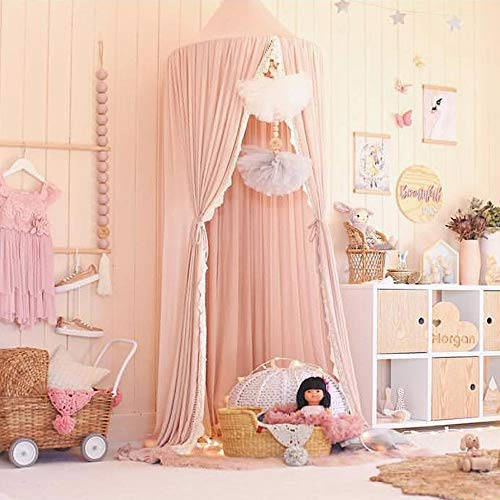 HOUTBY Princess Dome Bed Canopy Mosquito Net Kids Play Tent Hanging House Decoration for Baby Kids Indoor Outdoor Playing Reading