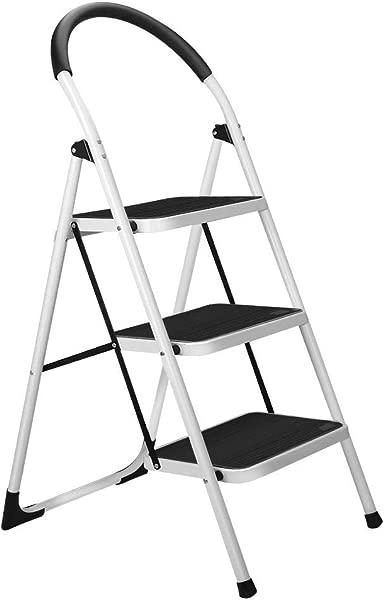 Gimify 3 Step Ladder Folding Step Stool Steel Anti Slip Sturdy Wide Pedal 330lbs Renewed