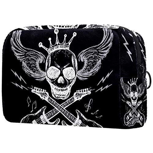 Bolsa de cosméticos Bolsa de Maquillaje Impermeable para Mujer para Viajar para Llevar cosméticos, Cambiar Llaves, etc. Música Rock Skull Guitar Wings