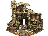 BERTONI Rustikales Haus mit Feuerbrunnen und Krippe, Holz, Mehrfarbig, Einheitsgröße
