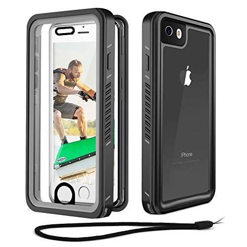 Beeasy Hülle Stoßfest für iPhone SE 2020 8/7,IP68 Zertifiziert Wasserdichte Handyhülle,360 Grad Schutzhülle mit Kameraschutz Eingebautem Displayschutz,Staubdicht Schneefest Outdoor Case,Schwarz + Grau